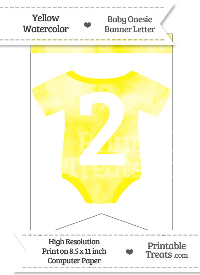 Yellow Watercolor Baby Onesie Bunting Banner Number 2 from PrintableTreats.com