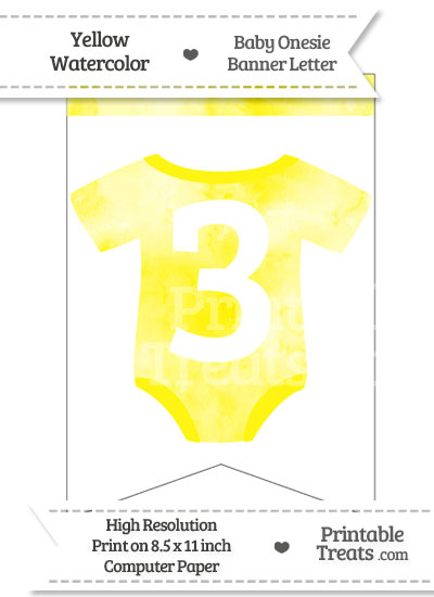 Yellow Watercolor Baby Onesie Bunting Banner Number 3 from PrintableTreats.com
