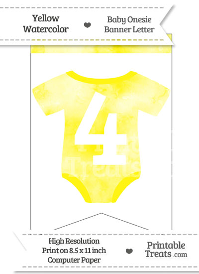 Yellow Watercolor Baby Onesie Bunting Banner Number 4 from PrintableTreats.com