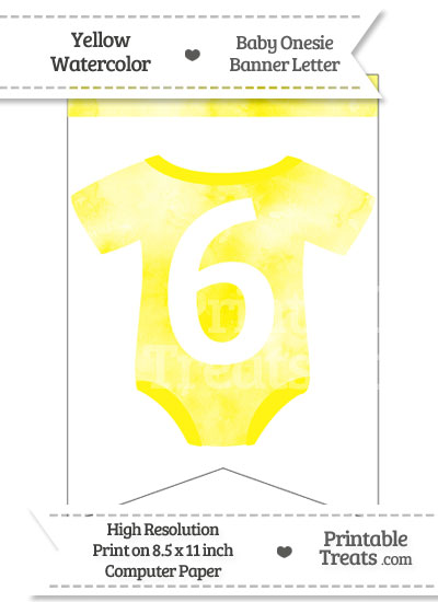Yellow Watercolor Baby Onesie Bunting Banner Number 6 from PrintableTreats.com