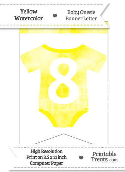 Yellow Watercolor Baby Onesie Bunting Banner Number 8 from PrintableTreats.com