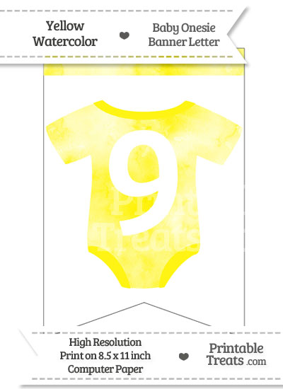 Yellow Watercolor Baby Onesie Bunting Banner Number 9 from PrintableTreats.com