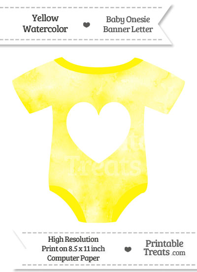 Yellow Watercolor Baby Onesie Shaped Banner Heart End Flag from PrintableTreats.com