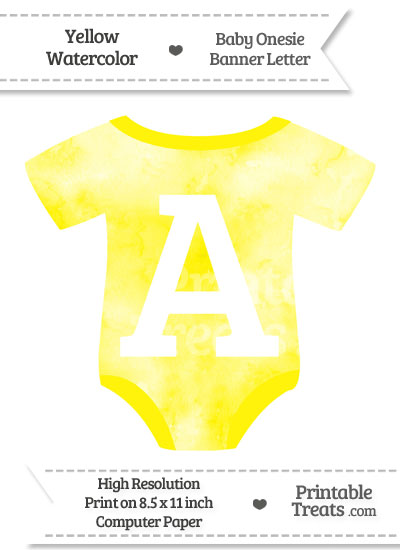 Yellow Watercolor Baby Onesie Shaped Banner Letter A from PrintableTreats.com