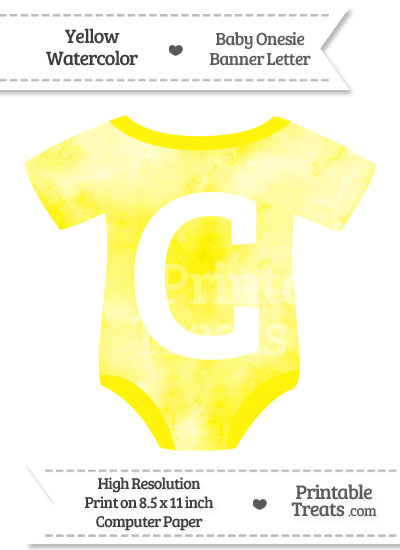 Yellow Watercolor Baby Onesie Shaped Banner Letter C from PrintableTreats.com