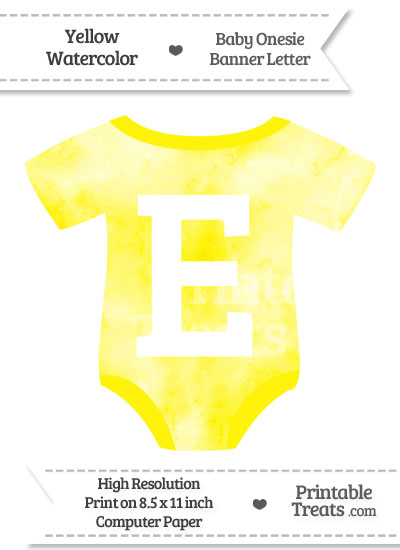 Yellow Watercolor Baby Onesie Shaped Banner Letter E from PrintableTreats.com