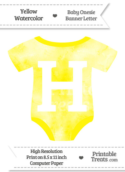 Yellow Watercolor Baby Onesie Shaped Banner Letter H from PrintableTreats.com