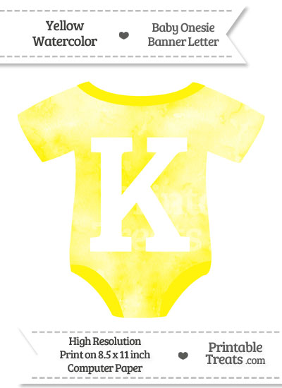Yellow Watercolor Baby Onesie Shaped Banner Letter K from PrintableTreats.com