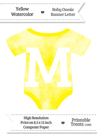 Yellow Watercolor Baby Onesie Shaped Banner Letter M from PrintableTreats.com
