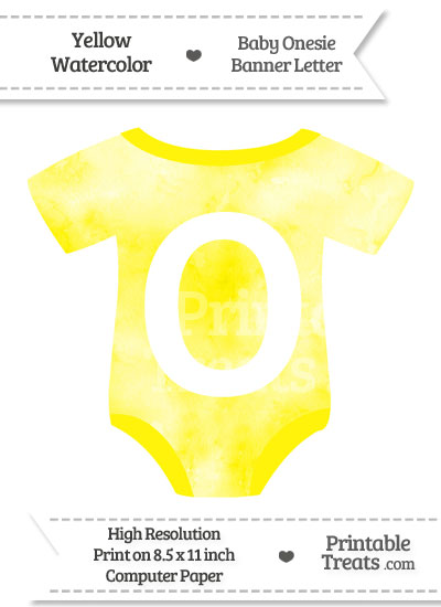 Yellow Watercolor Baby Onesie Shaped Banner Letter O from PrintableTreats.com