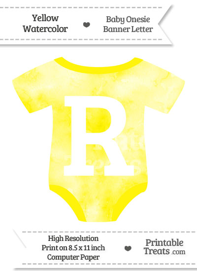 Yellow Watercolor Baby Onesie Shaped Banner Letter R from PrintableTreats.com