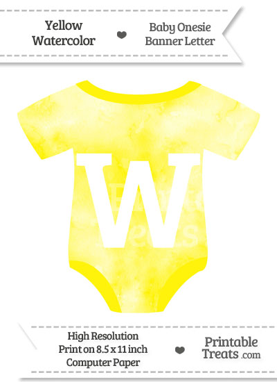 Yellow Watercolor Baby Onesie Shaped Banner Letter W from PrintableTreats.com