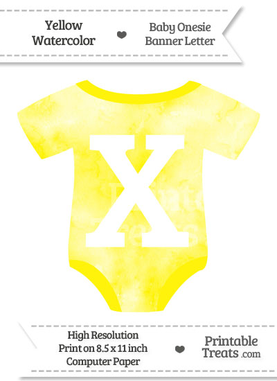 Yellow Watercolor Baby Onesie Shaped Banner Letter X from PrintableTreats.com