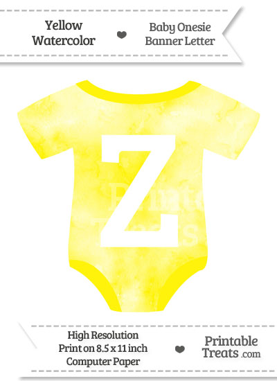Yellow Watercolor Baby Onesie Shaped Banner Letter Z from PrintableTreats.com