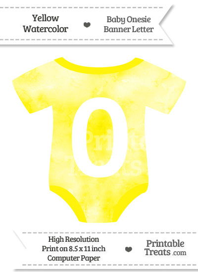 Yellow Watercolor Baby Onesie Shaped Banner Number 0 from PrintableTreats.com