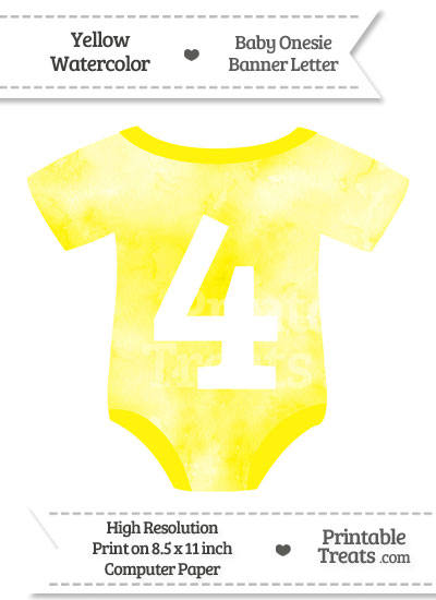 Yellow Watercolor Baby Onesie Shaped Banner Number 4 from PrintableTreats.com