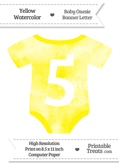 Yellow Watercolor Baby Onesie Shaped Banner Number 5 from PrintableTreats.com