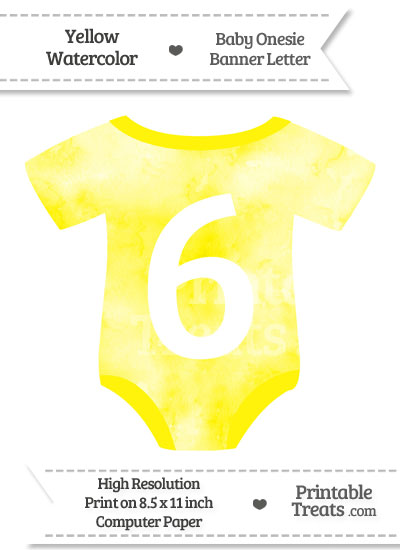 Yellow Watercolor Baby Onesie Shaped Banner Number 6 from PrintableTreats.com
