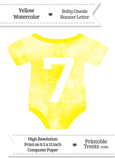 Yellow Watercolor Baby Onesie Shaped Banner Number 7 from PrintableTreats.com