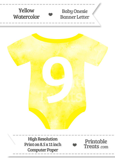 Yellow Watercolor Baby Onesie Shaped Banner Number 9 from PrintableTreats.com