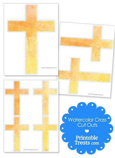 Yellow Watercolor Cross Cut Outs from PrintableTreats.com