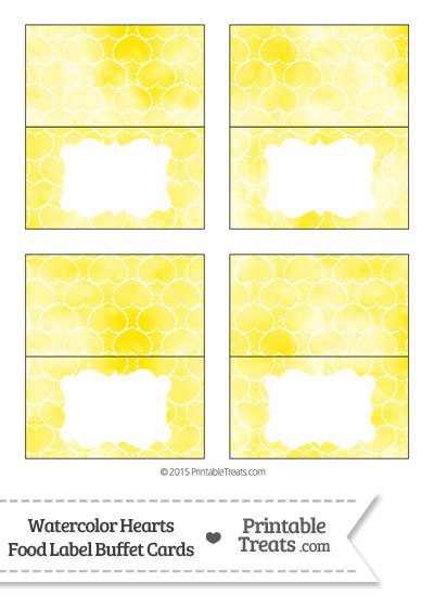 Yellow Watercolor Hearts Food Labels from PrintableTreats.com