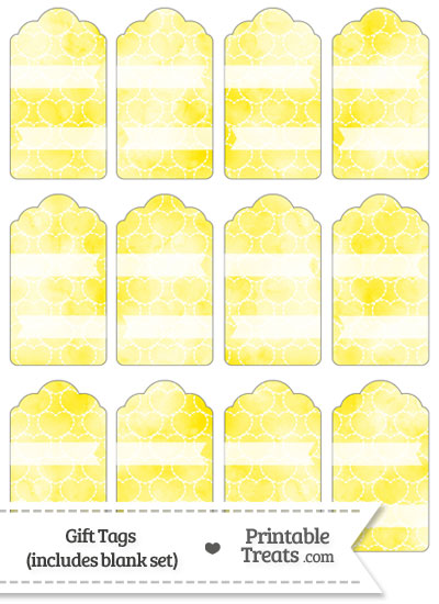 Yellow Watercolor Hearts Gift Tags from PrintableTreats.com