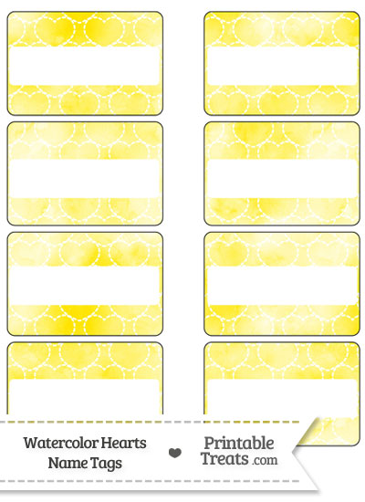 Yellow Watercolor Hearts Name Tags from PrintableTreats.com