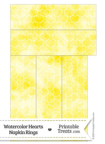 Yellow Watercolor Hearts Napkin Rings from PrintableTreats.com
