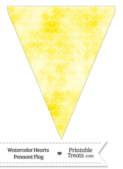 Yellow Watercolor Hearts Pennant Banner Flag from PrintableTreats.com