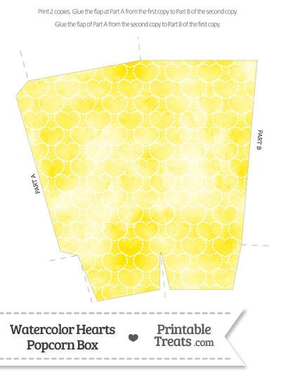 Yellow Watercolor Hearts Popcorn Box from PrintableTreats.com