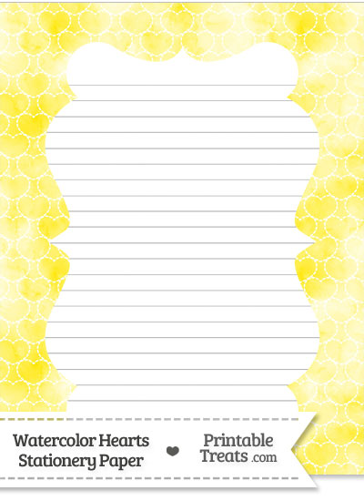 Yellow Watercolor Hearts Stationery Paper from PrintableTreats.com