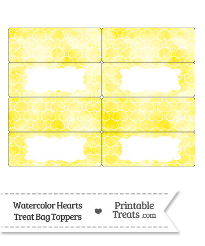 Yellow Watercolor Hearts Treat Bag Toppers from PrintableTreats.com