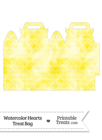 Yellow Watercolor Hearts Treat Bag from PrintableTreats.com