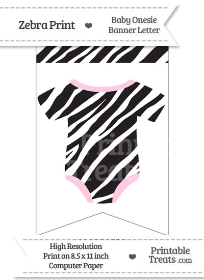 Zebra Print Baby Onesie Bunting Banner Blank Spacer Flag from PrintableTreats.com