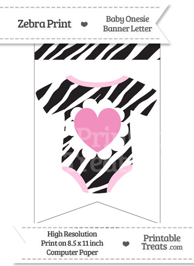 Zebra Print Baby Onesie Bunting Banner Heart End Flag from PrintableTreats.com