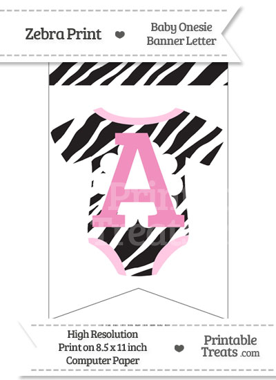 Zebra Print Baby Onesie Bunting Banner Letter A from PrintableTreats.com