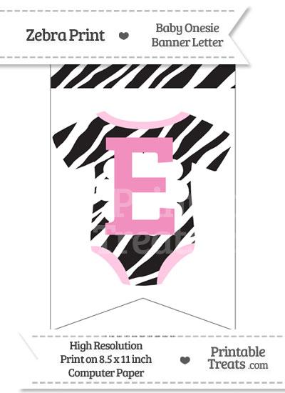 Zebra Print Baby Onesie Bunting Banner Letter E from PrintableTreats.com