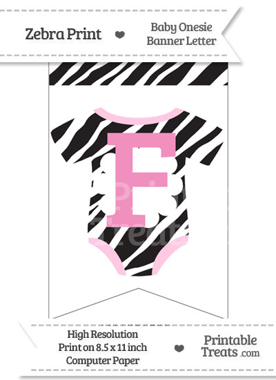 Zebra Print Baby Onesie Bunting Banner Letter F from PrintableTreats.com