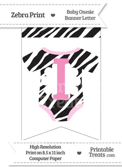 Zebra Print Baby Onesie Bunting Banner Letter I from PrintableTreats.com