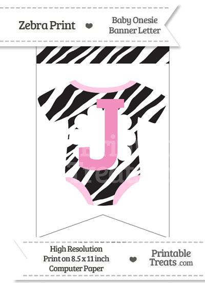 Zebra Print Baby Onesie Bunting Banner Letter J from PrintableTreats.com