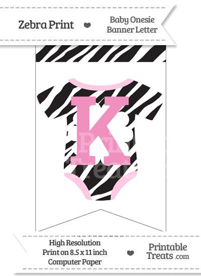 Zebra Print Baby Onesie Bunting Banner Letter K from PrintableTreats.com
