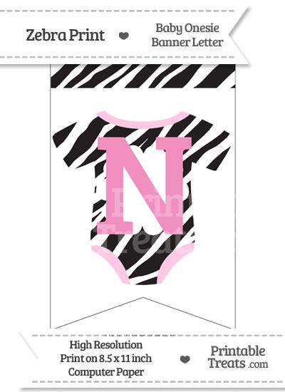 Zebra Print Baby Onesie Bunting Banner Letter N from PrintableTreats.com