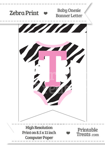 Zebra Print Baby Onesie Bunting Banner Letter T from PrintableTreats.com