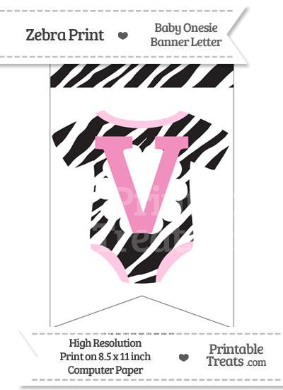 Zebra Print Baby Onesie Bunting Banner Letter V from PrintableTreats.com