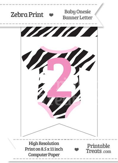 Zebra Print Baby Onesie Bunting Banner Number 2 from PrintableTreats.com