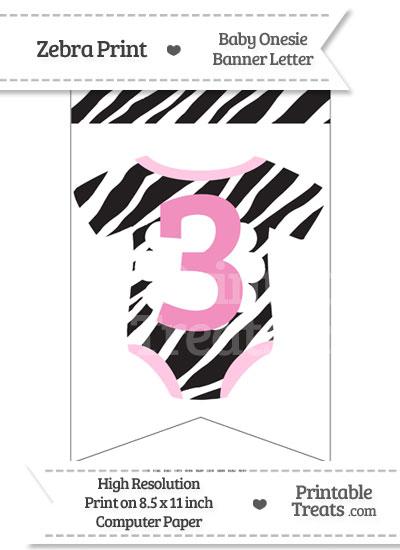 Zebra Print Baby Onesie Bunting Banner Number 3 from PrintableTreats.com