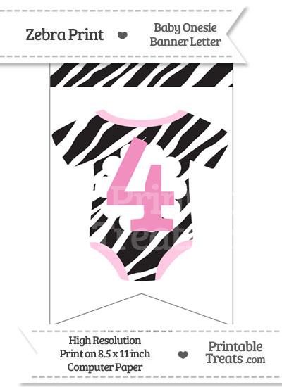 Zebra Print Baby Onesie Bunting Banner Number 4 from PrintableTreats.com