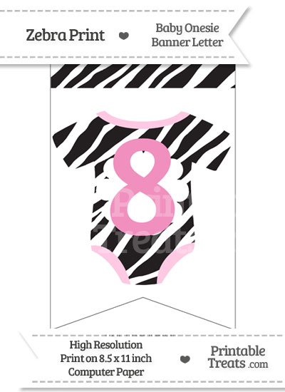 Zebra Print Baby Onesie Bunting Banner Number 8 from PrintableTreats.com