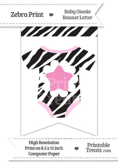 Zebra Print Baby Onesie Bunting Banner Star End Flag from PrintableTreats.com